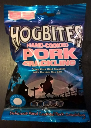 HOGBITES Delicious hand-cooked pork crackling, prime pork rind seasoned with cornish sea salt.