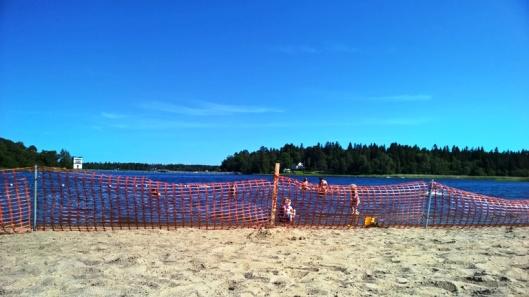 Pukinsaari Campingin rantaan oli laitettu viihtyisyyttä rajoittavat oranssit aidat. Otaksuimme, että niiden tehtävä oli estää lintujen pesiytyminen rantaan, joka voisi sekin rajoittaa viihtyisyyttä....