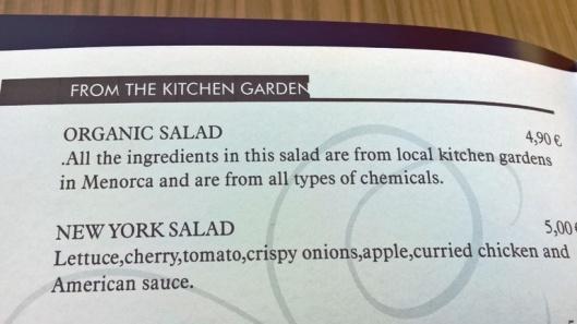 """Aika hauska yksityiskohta menussa: """"from alla types of chemicals"""". Jäi se salaatti tilaamatta."""