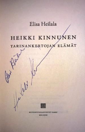 Kirjailijan ja näyttelijän omistuskirjoitukset.