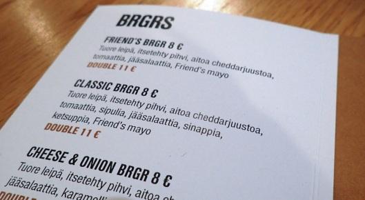 Illan menu oli maistelupalaset Classic Burgerista...